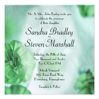 Green Flowers Wedding Invitations Custom Invitation