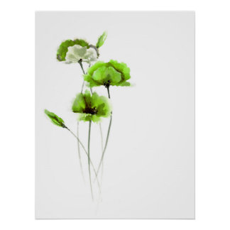 Green flowers white poster flowers posters