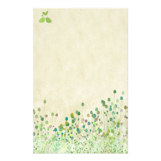 Green flowers with birds in love stationery