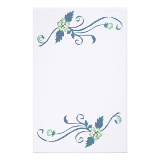 Green Flowers with Blue Vine Stationery