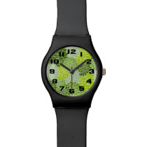 Green Flowers Wrist Watch
