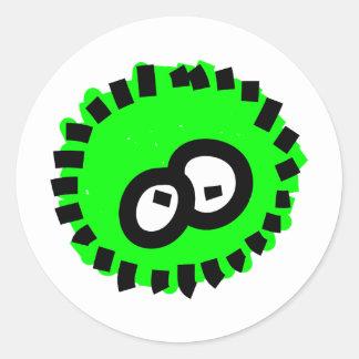 Green Fluffy Germ Classic Round Sticker