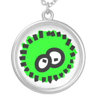 Green Fluffy Germ Round Pendant Necklace