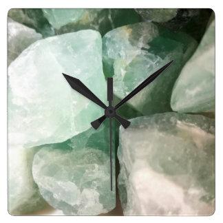 Green Fluorite Square Wall Clock