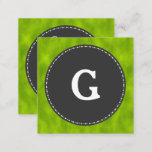 [ Thumbnail: Green Foggy Pattern Initial Letter Business Card ]