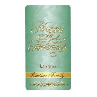 Happy Holidays Green Gold Shipping, Address, & Return Address ...