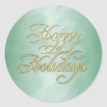 Green Foil Happy Holidays Diamond Sticker