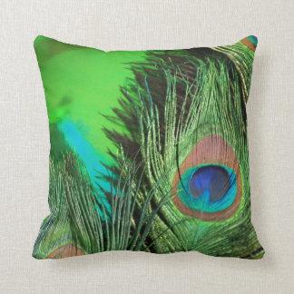Green Foil Peacock Pillows