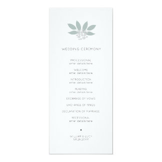 Green foilage wedding program