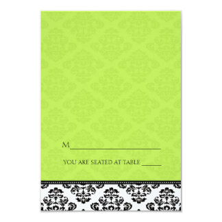 Green Folding Tent Damask Place Cards