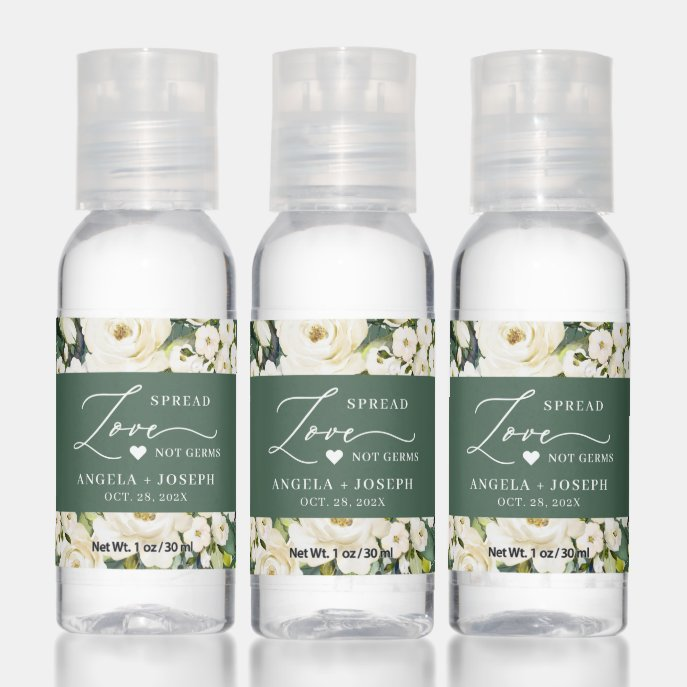 Green Foliage and White Roses Wedding Spread Love Hand Sanitizer