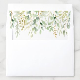 Green Foliage Botanical Envelope Liner