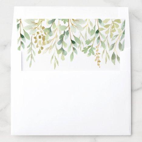 Green Foliage Botanical Envelope Liner