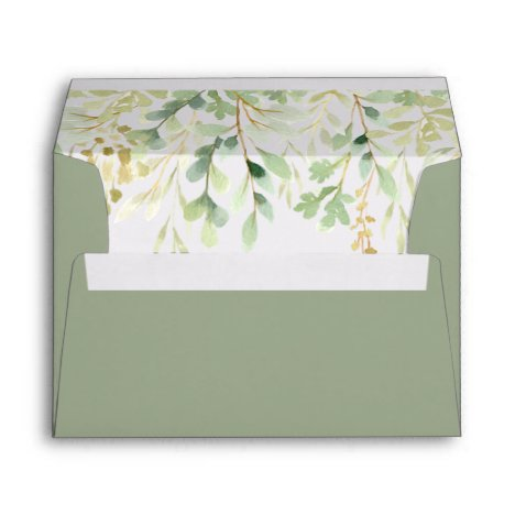 Green Foliage Botanical Pre-Printed Address 5x7 Envelope