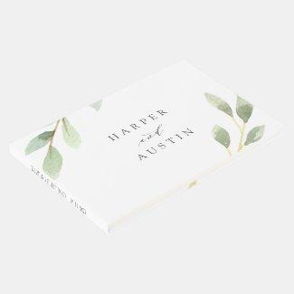 Green Foliage Botanical Wedding Guest Book
