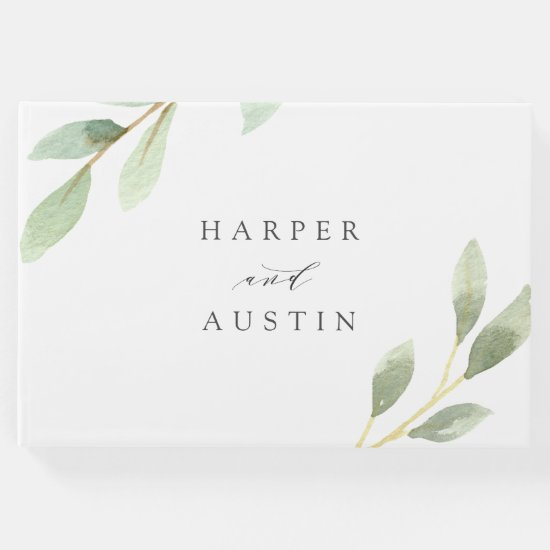 Green Foliage Botanical Wedding Guest Book