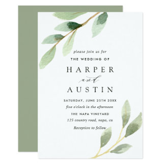 Green Foliage Botanical Wedding Invitation