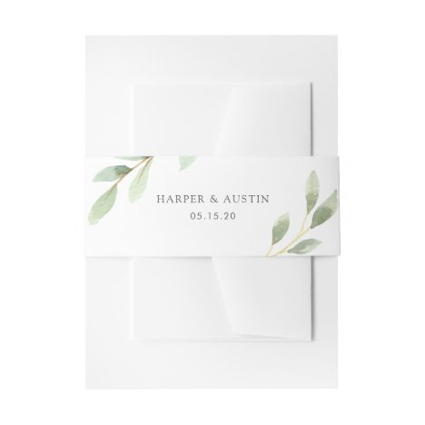 Green Foliage Botanical Wedding Invitation Belly Band
