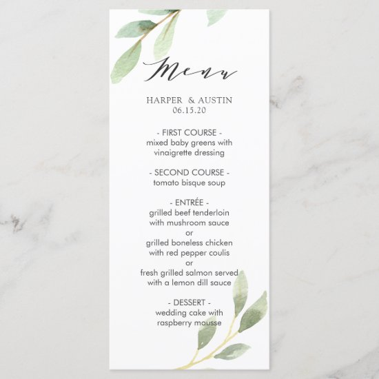 Green Foliage Botanical Wedding Menu