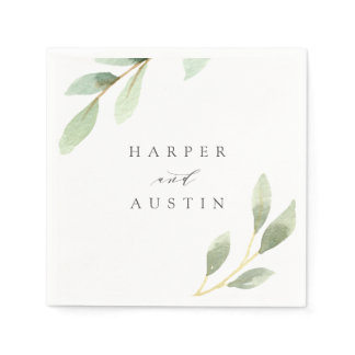 Green Foliage Botanical Wedding Napkins