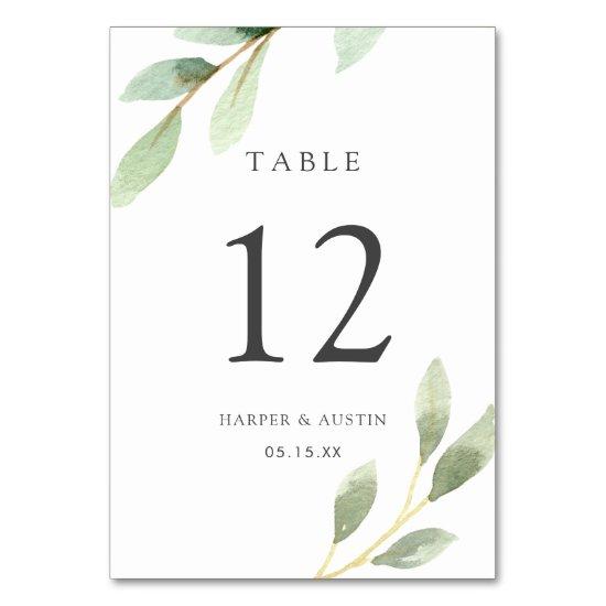 Green Foliage Botanical Wedding Table Number