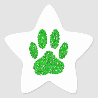Green Foliage Dog Paw Print Star Sticker