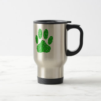 Green Foliage Dog Paw Print Travel Mug