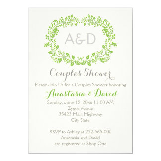 Green foliage initials wedding couples shower card