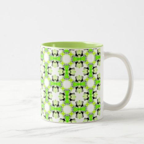 Green Foliage Lime Abstract Modern Lattice Two-Tone Coffee Mug