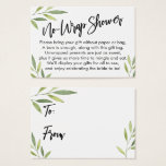 "Green Foliage No-Wrap Bridal Shower Gift Card<br><div class=""desc"">If you're hosting a no-gift-wrap display shower for a bride-to-be, this elegant card could be the choice for you. Using a modern, handwritten script font, I first added a header graphic that reads ""No-Wrap Shower"" on the front, and ""To"" and ""From"" for the gift tag side. The edges have been...</div>"