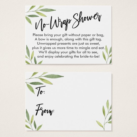 green foliage no wrap bridal shower gift card