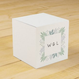Green foliage wedding favor box