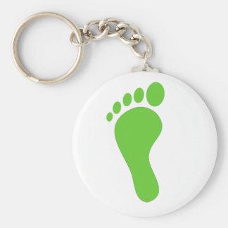 Green foot print illustration basic round button keychain