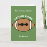 """Green Football 13th Birthday Grandson Card<br><div class=""""desc"""">A green football 13 birthday grandson card,  which you can easily personalize with his age and name. The inside reads a birthday message,  which you can easily edit as well. You can personalize the back of this football birthday card with the year.</div>"""