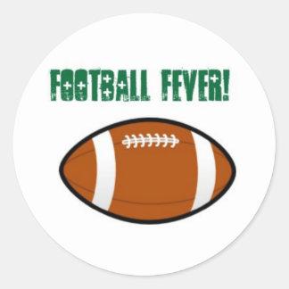 Green Football Design Classic Round Sticker