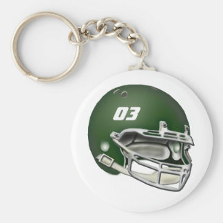 Green Football Helmet Keychain