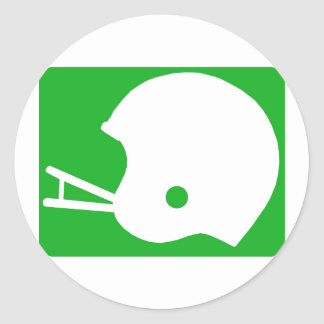 Green Football Helmet Logo Classic Round Sticker