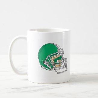Green football helmet mug