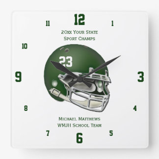 Green Football Helmet Name and School Clock