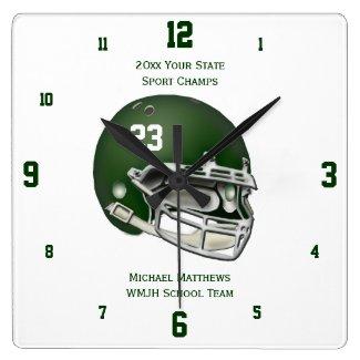 Green Football Helmet Name and School Clock