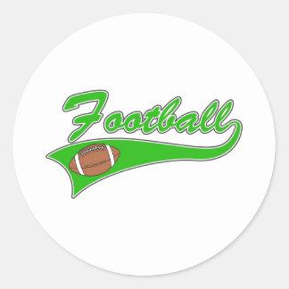 Green Football Logo Classic Round Sticker