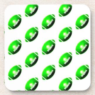 Green Football Pattern Beverage Coaster