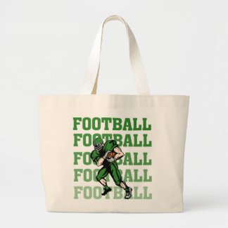 Green Football Player T-shirts and Gifts Large Tote Bag