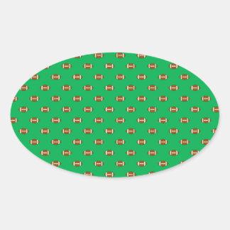 Green Football Polka Dots Oval Sticker