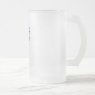 green football spoon frosted glass beer mug