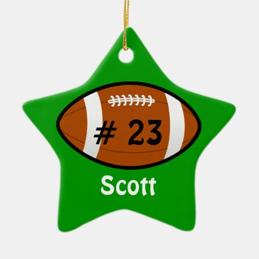 Green Football Star Ornament