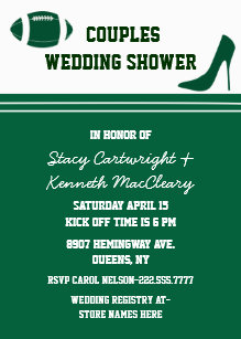 green football themed wedding shower invitation