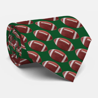 Green Football Tie w/ Yellow Gold back