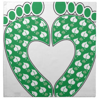 Green Footprint Heart Cloth Napkin