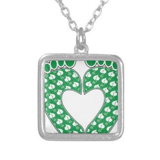 Green Footprint Heart Custom Necklace